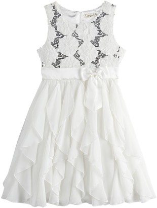 Knitworks Girls 4-16 & Plus Size Knit Works Floral Ruffle Bow Dress