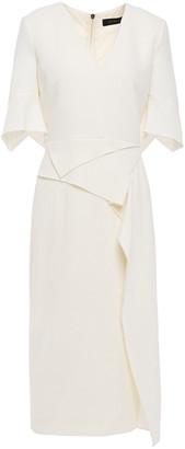 Roland Mouret Draped Wool-crepe Midi Dress