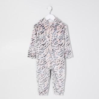 River Island Mini girls Nude tiger print fleece onesie