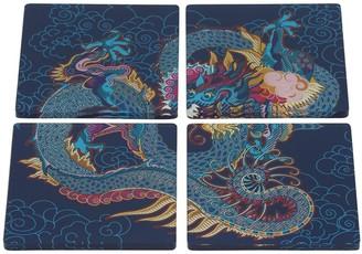 Shanghai Tang Set Of 4 Vivid Dragon Acrylic Coasters
