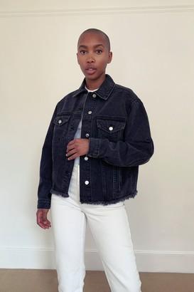 Topshop Womens Washed Black Oversized Raw Denim Jacket - Washed Black