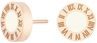 Florence London Rose Gold Florence Studs With Cream Enamel