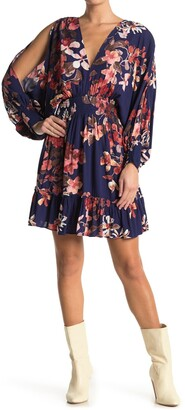 Love Stitch V-Neck Floral Cutout Sleeve Dress