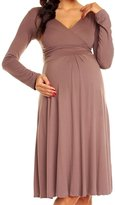 Happy Mama Boutique Happy Mama. Women's Maternity Jersey Empire Dress Long Sleeves Baby Shower. 890p