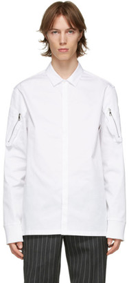 Neil Barrett White Poplin Zip Detail Shirt