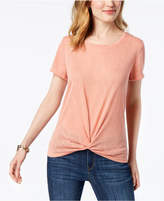 Style&Co. Style & Co Twist-Front High-Low T-Shirt, Created for Macy's