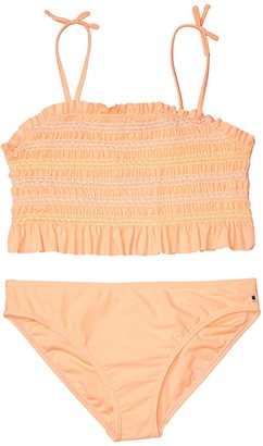 Lucky Brand Kids Natalie Two-Piece Swimsuit (Big Kids) (Bright Melon) Girl's Swimwear Sets