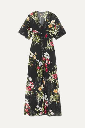 Olivia von Halle Delphine Floral-print Silk-georgette Maxi Dress - Black