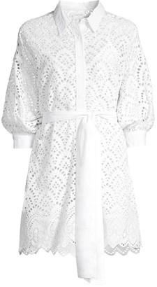 SUNDRESS Florine Eyelet Crochet Belted Dress