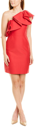 Halston One-Shoulder Flounce Silk-Blend Mini Dress