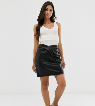 ASOS DESIGN Petite textured tulip mini skirt in leather look