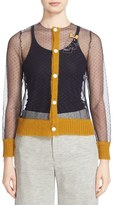 Undercover Mesh Cardigan with Mohair Trim