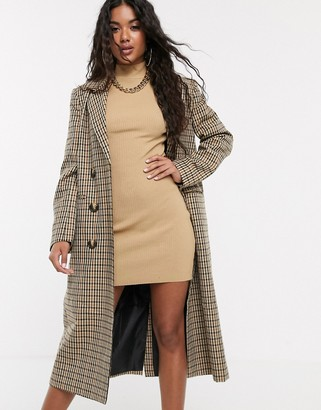 Asos Design DESIGN lightweight longline check coat-Multi