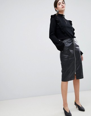 Gestuz Nadine Leather Pencil Midi Skirt with Zip Front