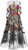 Oscar de la Renta floral embroidery flared dress