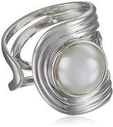 Majorica 10mm White Mabe Pearl Sterling Silver Cuff Ring, Size 7