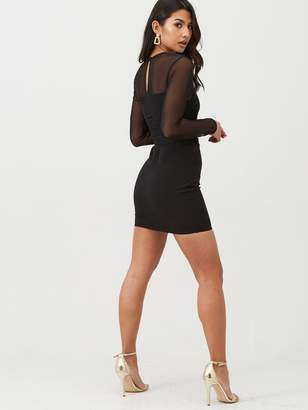 boohoo Mesh Mini Dress With Ruched Waist - Black