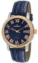 Peugeot Men's 'Stainless Steel' Mechanical Hand Wind and Leather Dress Watch