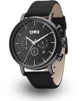 Edwin ELEMENT Men's Stainless Steel Case Chronograph Watch with Genuine Leather Band Dial
