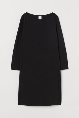 H&M Boat-neck Jersey Dress - Black