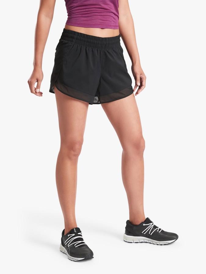 Athleta Mesh Racer 4 Run Shorts, Black