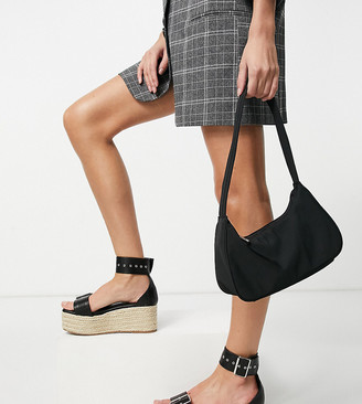 Truffle Collection Wide Fit platform buckle espadrilles in black