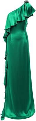 Zac Posen Embellished Ruffled One-shoulder Satin-crepe Gown
