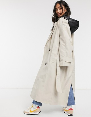 ASOS DESIGN trench coat with detachable leather look hood in stone