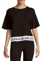 Calvin Klein Jeans Heathered Drop-Shoulder Cotton-Blend Top