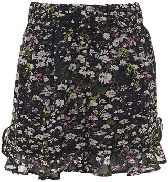 Ganni Ruffle-trimmed Floral-print Georgette Shorts