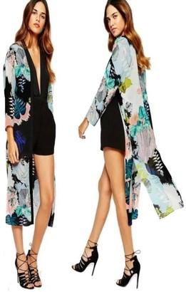 Deloito  Womens Cloth Women Coat Deloito Womens Boho Printed Chiffon Shawl Long Kimono Cardigan Tops Cover up Shirt Blouse Beach Cover Ups and Kaftans Cardigans for Ladies (Black M)