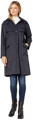 Bernardo Fashions Long Hooded Raincoat (Dark Navy) Women's Coat
