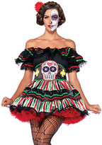 Leg Avenue Black & Red Day of the Dead Doll Costume Set - Plus Too