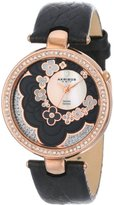 Akribos XXIV Women's AK601BK Lady Diamond Flower Dial Swiss Quartz Leather Strap Watch