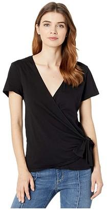 bobi Los Angeles Short Sleeve Wrap Top in Lightweight Jersey (Black) Women's Clothing