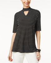NY Collection Mock-Neck Keyhole Top