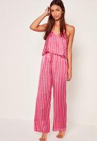 Missguided Trim Detail Striped Pyjama Set Pink