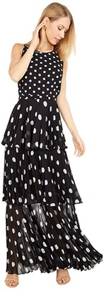 Milly Emiliana Pleat Polka Dot Maxi Dress (Black/White) Women's Dress