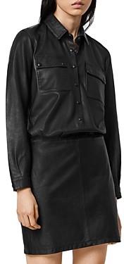 AllSaints Kadi Leather Mini Dress