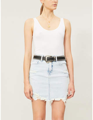 Good American The Bombshell high-waist denim mini skirt