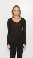 L'Agence Long Sleeve Scoop Neck T-Shirt
