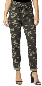 Almost Famous Juniors' Camo-Print Paperbag-Waist Skinny Jeans