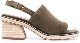Tory Burch Straw-Woven Platform Sandals