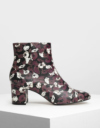 Charles & Keith Printed Zipper Ankle Boots