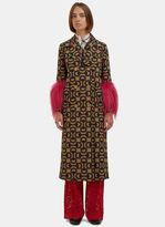 Gucci Women's Woven Jacquard Fur Cuffed Coat in Gold