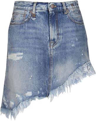R13 Asymmetric Mini Denim Skirt