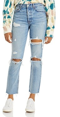 GRLFRND Karolina Cotton Ripped Straight Jeans in A Little More Love