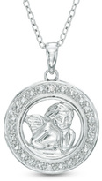Zales Diamond Accent Angel Medallion Pendant in Sterling Silver
