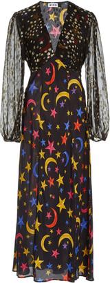 Rixo Melanie Star-Print Silk Midi Dress