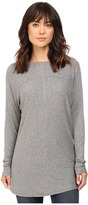 Heather Long Sleeve Drape Front Panel Back Top